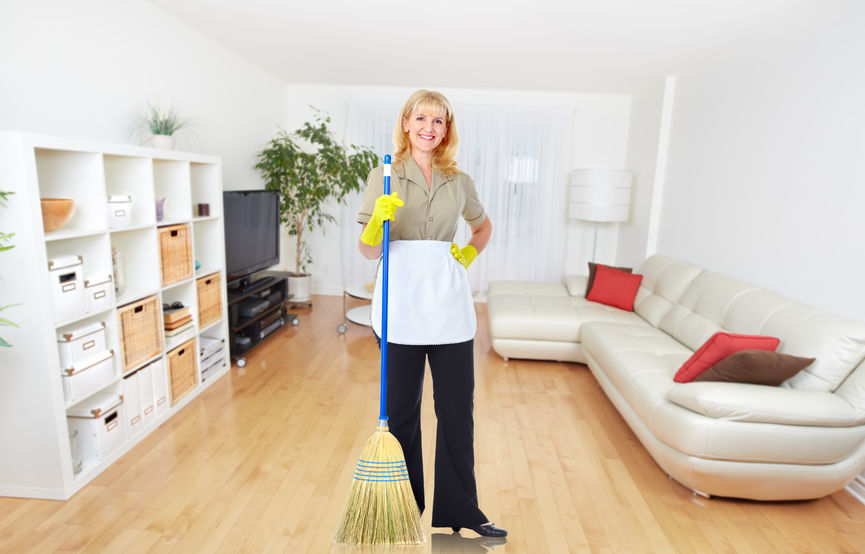 Maid in America offers residential cleaning and includes sweeping floors.