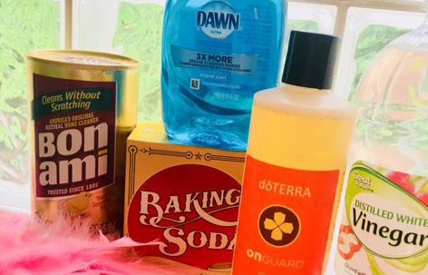 Natural and healthy cleaning products including vinegar and DoTerra OnGuard